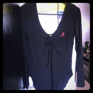 Long sleeve low cut bodysuit